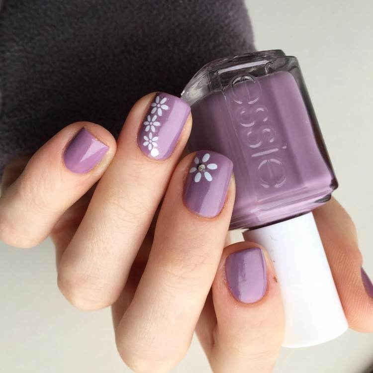 5 Exotic Purple Gel Nail Designs : Beautiful Purple Gel Nail Designs With Violet Flowers On