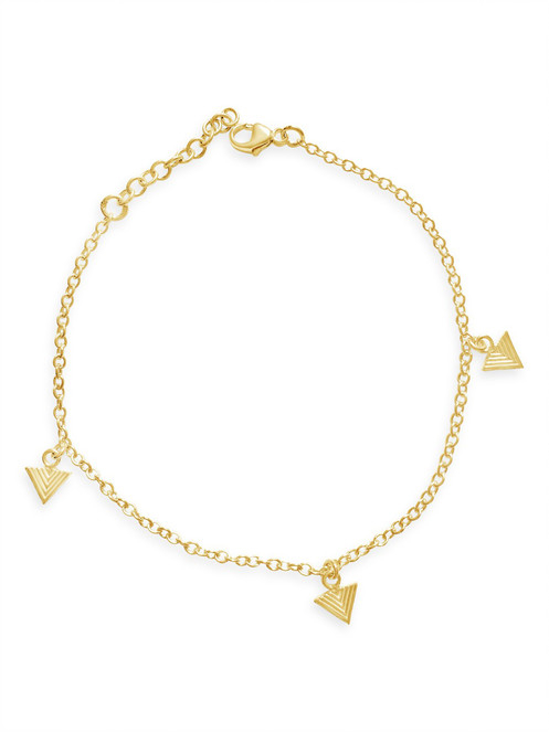 Gold Friendship Bracelet with Geometric Cubes, unique  British design