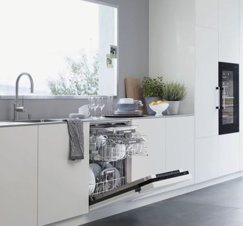 I like how the seating is attached to the counter and how the appliances are built in