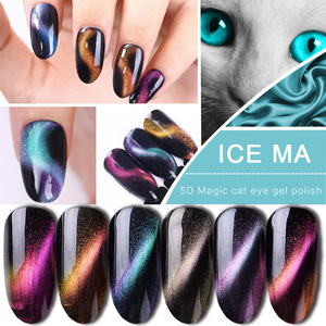 Purple cat eye gel polish with freehand nail art