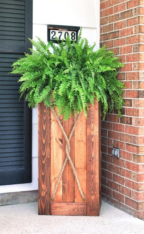 Wooden crates added to porch decor