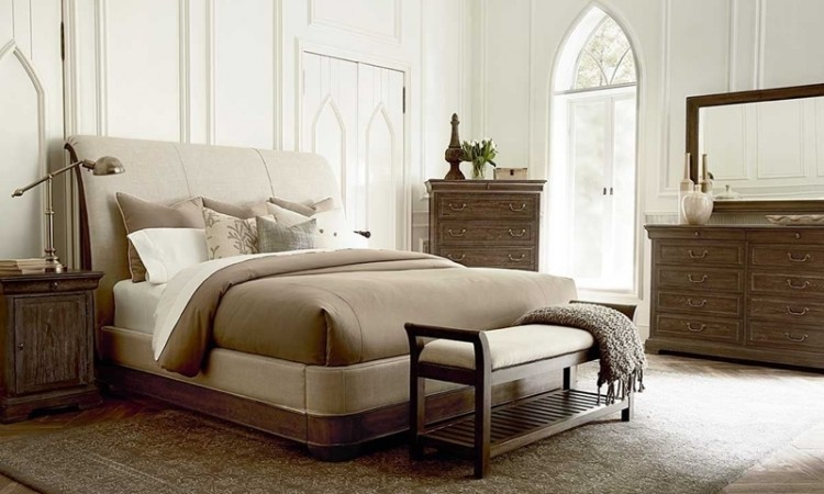 Germain Louis Philippe King Sleigh Bed in Neutral Tone Upholstery